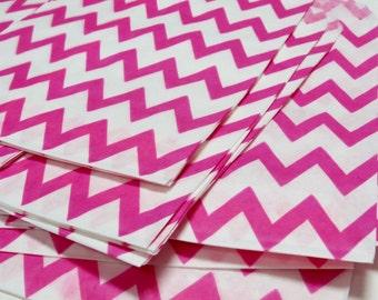 20 Hot Pink & White Chevron Treat Bag 5 x 7.5