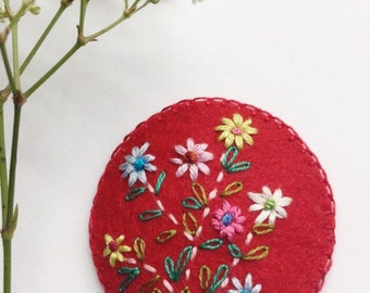 Hand Embroidered Wool Felt Hair Clip