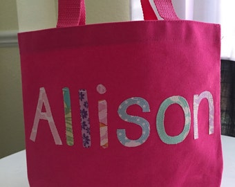 Girls Small Personalized Tote Bag - Great Flower Girl Gift, Party Favors, Preschool Bag - Pick Your Own Fabric Colors