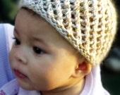 100% Cashmere Baby Hat, beanie. Open lace work, size newborn, hand knit.