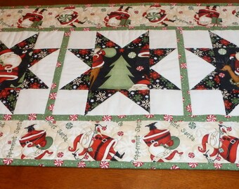 Pepppermint Santa Table Runner Quilt