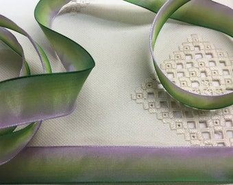 "3 yds x 7/8"" wide French Wired Ribbon Acetate Dark Lavender Chartreuse Green Ombre #354"