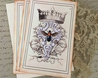French Bee and Crown Notecards - Vintage Paris Bee Notecards - Flat Notecards, Heraldry, Queen Bee, Crown - Set of 3