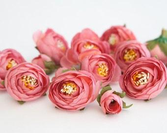15 Small Mini Ranunculus in Pink - silk artificial flower, millinery flower - ITEM 0126