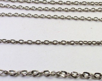 Bright Silver Plated Oval Link Chain Pieces, Unfinished Chain, Wholesale Bead Findings