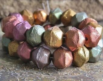 10mm Metallic Mix Czech Glass English Cut Nugget : 10 English Metallic Beads
