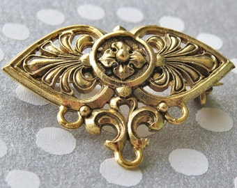 Brooch Pin Anthemion & Rosette Gold Plated Pewter 35mm : 1 Beadable Brooch Pin