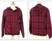 Vintage Buffalo Plaid Jacket 70s Red/Black Zip Up Hoodie Jacket Sz.M