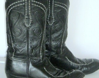 Mens Sz 10D Lucchese Cowboyboy Boots  Black Leather Western Boots