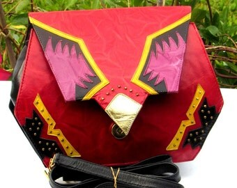 80s Multi-Color Leather Crossbody Purse Red Black Convertible Envelope Clutch Bag 2 Bags For the Price of One