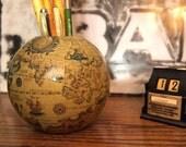 Fun Globe Pen Pencil Holder Made in Italy Wood  Sepia Tones