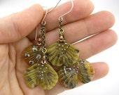 Organic dangle woodsy neutral ginko leaf glass handmade earrings