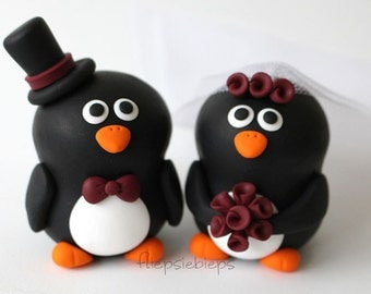 Penguin Wedding Cake Topper Custom (2.5 inch)