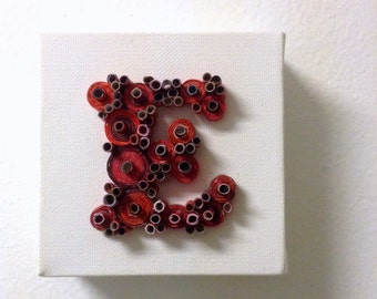 "E Initial Art Letter Rolled Paper on 4x4"" Mini Canvas Upcycled Art from Magazines and more!"