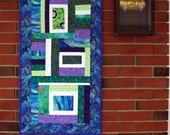 Quilted Abstract Wall Hanging, Table Runner, Purple, Blue, Green, White Wall Hanging