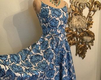 1950s culottes floral sundress size small spaghetti straps vintage culottes 1950s skort 50s sundress