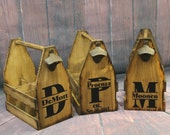 7 Rustic Wood Beer Tote - Beer Carrier - Beer Caddy - Man Cave - Brewery - Personalized - Bottle Opener - Rustic Wedding Country barn style