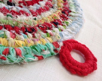 Rainbow Delights Rag Rug POTHOLDER / Trivet - Vintage Style Made From Quilting Scraps