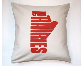 Prairies Pillow Cover 16x16 Red Prairies Screenprint