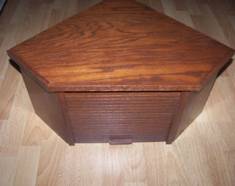 Oak Corner Bread Box with Chestnut Finish and Roll up Door