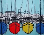 VINTAGE 40s 50s BORDER print fabric mod sail boats by J P Stevens for Fuller Fabrics