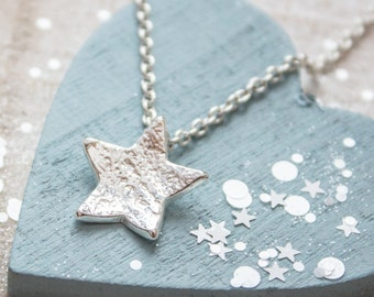 Textured Silver Star Necklace - Solid Silver Star Necklace, Graduation gift, Handmade Star Necklace, Gift for teen, well done gift