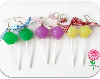 Dum Dum Lollipop Earrings -Realistic food -purple green and yellow with gingham bows -Candy Jewelry Earrings