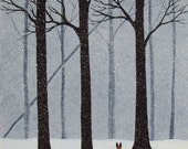 Belgian Malinois Dog Forest Folk art print by Todd Young FALLLING SNOW