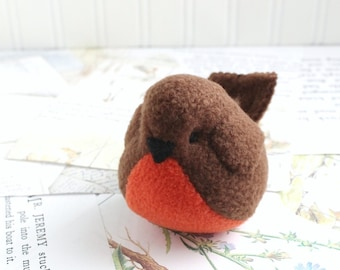 Handmade Robin Stuffed Animal Brown Plush Bird Fleece Bird Stuffed Toy