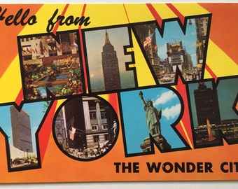 Vintage Greetings from New York - Big Letters Postcard