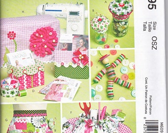 McCalls 6095 Sewing Machine Cover Organizer Button Doll Apron Sewing Pattern NEW