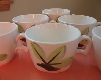 Woodleaf by Continental Kilns cups handpainted