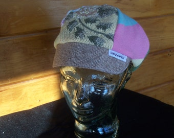Sweater newsboy cap yellows and pinks
