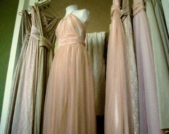 One of a Kind Upscale Mismatched Infinity Multiway Bridesmaids Dresses Any SIze/Length  Convertible Dress Blush Gold Sage Slate Rosewater