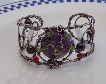 Tree of Life Chevron Amethyst Carnelian Peridot Garnet Moonstone Cuff Bracelet  Oxidized Copper  Jewelry Handmade boho Crystal Healing