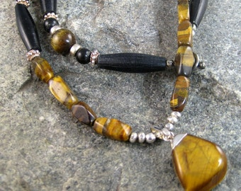 Tiger Eye Pendant Necklace, black bone hair pipe and tiger eye necklace, gemstone necklace, Native American necklace, cool jewelry for men