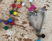 Heart Necklace with Rainbow Beads