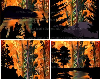 Artisan Made 4 Fabric Cotton Textile Art Prints Sunset Landscape Forest Trees UNIQUE Quilting