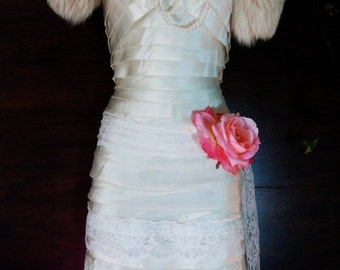 Valentines Sale Flapper wedding  silk  ivory tiered feather fringe Gatsby 20s  vintage  bride  romantic small by vintage opulence on Etsy