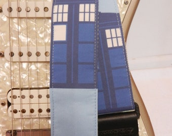 Phone box the Doctor inspired blue box guitar strap