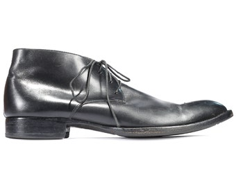 BLACK Chukka Boots for Men 90s Real Leather Ankle Booties Distressed Retro Lace Up Wide Fit Shoes US size Men Us 11 , Eur 45 , UK 10.5