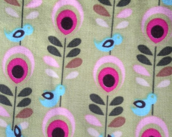Robert Kaufman - blue bird - flower - pink - green - corduroy fabric - cords - 1 yard