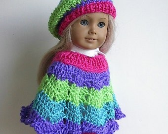 18 Inch Doll Crocheted Poncho Set in Bright Pink, Purple, Lime Green and Turquoise handmade to fit the American Girl Doll and Ready to Ship
