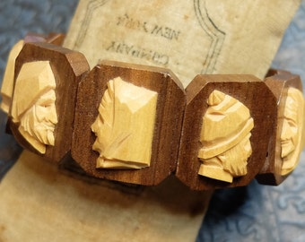 Vintage Wooden Bracelet Stretch Two Holes Carved Wood Heads