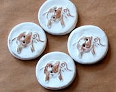 4 Handmade Ceramic Buttons -  Elephant Buttons - Brown Stoneware with Neutral white matte glaze