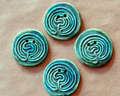 4 Handmade Ceramic Buttons - Large Labyrinth Buttons in Moss Green Stoneware - Knitting and Crochet Supplies