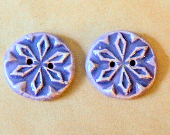 2 Handmade Stoneware Snowflake Buttons - Rustic buttons in a Lovely Light Lavender Glaze