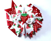 Boutique Strawberry  Inspired  Hair Bow Clip