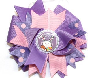 Boutique Easter Bunny Bottle Cap Hair Bow Clip