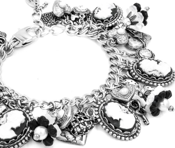 Charm Bracelet, Silver Jewelry, Black Cameo Charm Bracelet, Flowers and Pearls, Cameo Silver Jewelry